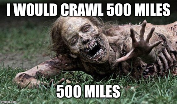 I WOULD CRAWL 500 MILES 500 MILES | made w/ Imgflip meme maker
