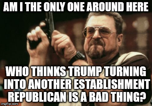 Am I The Only One Around Here Meme | AM I THE ONLY ONE AROUND HERE WHO THINKS TRUMP TURNING INTO ANOTHER ESTABLISHMENT REPUBLICAN IS A BAD THING? | image tagged in memes,am i the only one around here | made w/ Imgflip meme maker