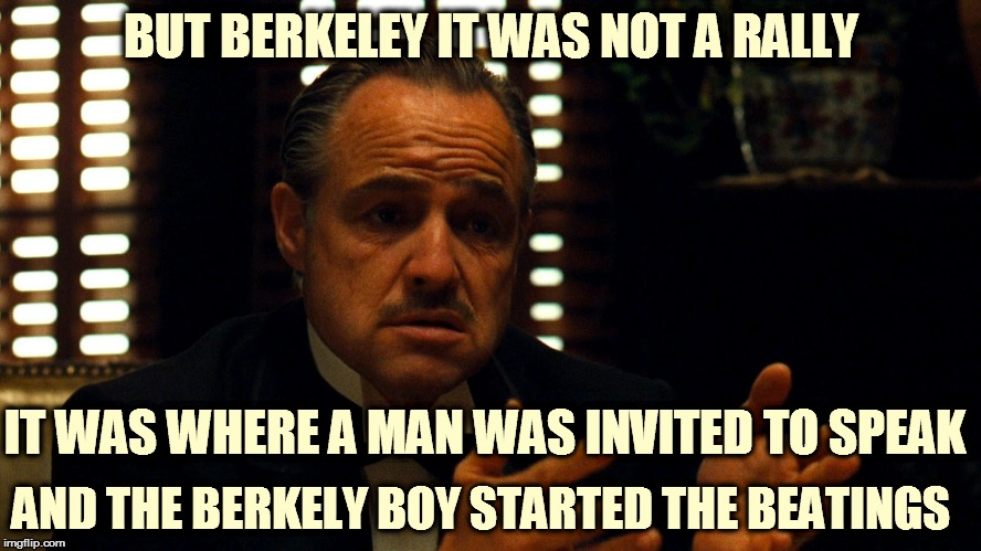 Don Corleone  | BUT BERKELEY IT WAS NOT A RALLY IT WAS WHERE A MAN WAS INVITED TO SPEAK AND THE BERKELY BOY STARTED THE BEATINGS | image tagged in don corleone | made w/ Imgflip meme maker