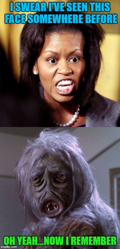 Can you see the resemblance? | I SWEAR I'VE SEEN THIS FACE SOMEWHERE BEFORE OH YEAH...NOW I REMEMBER | image tagged in michelle obama,memes,lookalike,funny,star trek | made w/ Imgflip meme maker