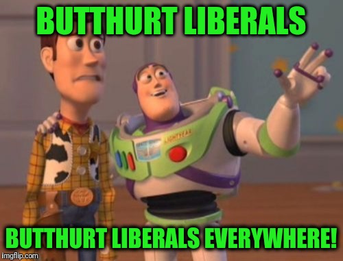 And they're easily triggered! | BUTTHURT LIBERALS BUTTHURT LIBERALS EVERYWHERE! | image tagged in memes,x,x everywhere,x x everywhere | made w/ Imgflip meme maker