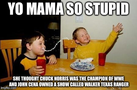 yo mama so fat | YO MAMA SO STUPID SHE THOUGHT CHUCK NORRIS WAS THE CHAMPION OF WWE AND JOHN CENA OWNED A SHOW CALLED WALKER TEXAS RANGER | image tagged in yo mama so fat | made w/ Imgflip meme maker