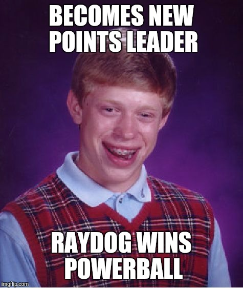 Bad Luck Brian Meme | BECOMES NEW POINTS LEADER RAYDOG WINS POWERBALL | image tagged in memes,bad luck brian | made w/ Imgflip meme maker