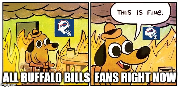This is fine dog | ALL BUFFALO BILLS  FANS RIGHT NOW | image tagged in this is fine dog | made w/ Imgflip meme maker