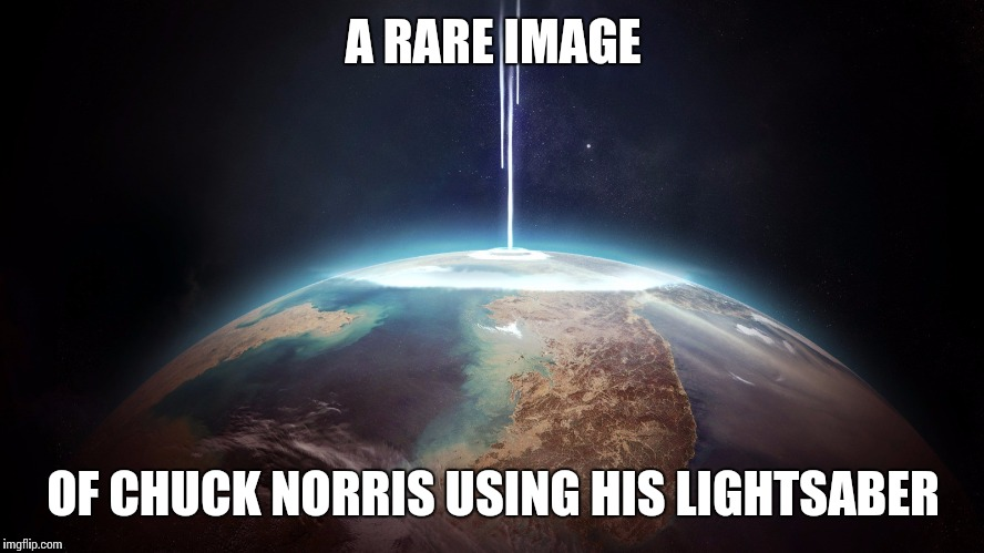 A RARE IMAGE OF CHUCK NORRIS USING HIS LIGHTSABER | made w/ Imgflip meme maker
