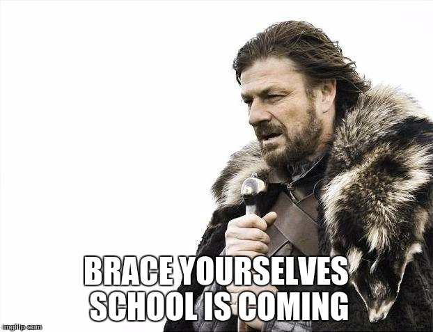 Brace Yourselves X is Coming | BRACE YOURSELVES SCHOOL IS COMING | image tagged in memes,brace yourselves x is coming | made w/ Imgflip meme maker