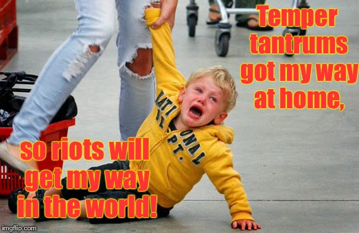 Thanks for the riots, parents  | Temper tantrums got my way at home, so riots will get my way in the world! | image tagged in memes,temper tantrums,riots,spoiled brats,manipulation,discipline | made w/ Imgflip meme maker