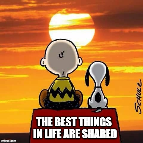 THE BEST THINGS IN LIFE ARE SHARED | image tagged in friends,friendship,sharing,sharing is caring,love | made w/ Imgflip meme maker