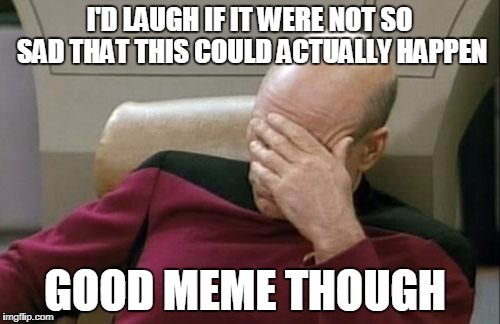 Captain Picard Facepalm Meme | I'D LAUGH IF IT WERE NOT SO SAD THAT THIS COULD ACTUALLY HAPPEN GOOD MEME THOUGH | image tagged in memes,captain picard facepalm | made w/ Imgflip meme maker