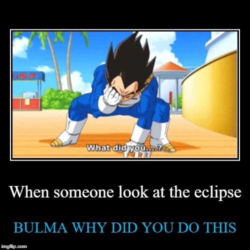 When someone look at the eclipse | BULMA WHY DID YOU DO THIS | image tagged in funny,demotivationals | made w/ Imgflip demotivational maker