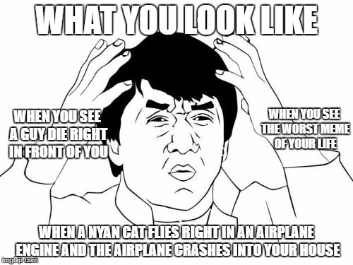 Jackie Chan WTF Meme | WHAT YOU LOOK LIKE WHEN A NYAN CAT FLIES RIGHT IN AN AIRPLANE ENGINE AND THE AIRPLANE CRASHES INTO YOUR HOUSE WHEN YOU SEE THE WORST MEME OF | image tagged in memes,jackie chan wtf | made w/ Imgflip meme maker