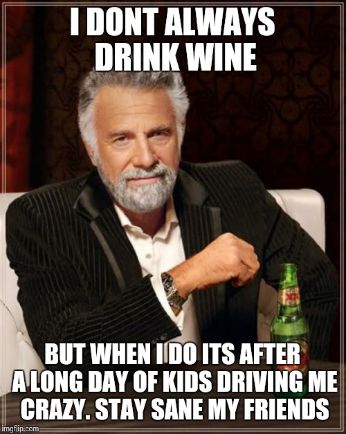 The Most Interesting Man In The World Meme | I DONT ALWAYS DRINK WINE BUT WHEN I DO ITS AFTER A LONG DAY OF KIDS DRIVING ME CRAZY. STAY SANE MY FRIENDS | image tagged in memes,the most interesting man in the world | made w/ Imgflip meme maker