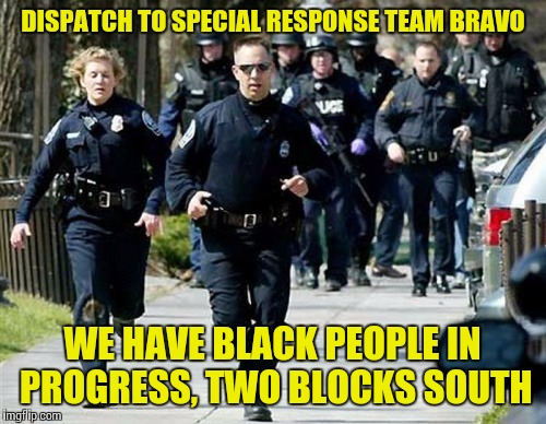Running Cops | DISPATCH TO SPECIAL RESPONSE TEAM BRAVO WE HAVE BLACK PEOPLE IN PROGRESS, TWO BLOCKS SOUTH | image tagged in memes,police,cops,black people,crime,white people | made w/ Imgflip meme maker
