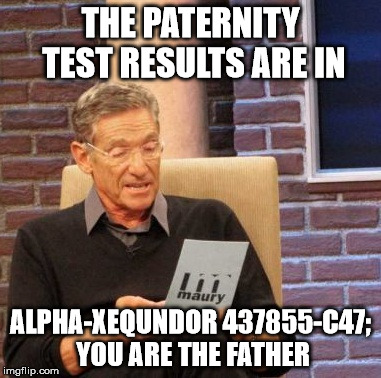 Maury Lie Detector Meme | THE PATERNITY TEST RESULTS ARE IN ALPHA-XEQUNDOR 437855-C47; YOU ARE THE FATHER | image tagged in memes,maury lie detector | made w/ Imgflip meme maker