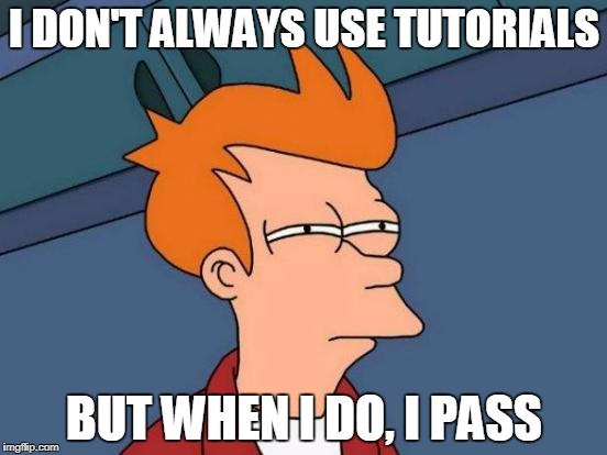 Futurama Fry Meme | I DON'T ALWAYS USE TUTORIALS BUT WHEN I DO, I PASS | image tagged in memes,futurama fry | made w/ Imgflip meme maker