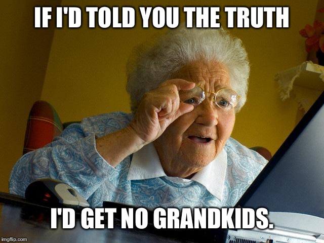 Grandma Finds The Internet Meme | IF I'D TOLD YOU THE TRUTH I'D GET NO GRANDKIDS. | image tagged in memes,grandma finds the internet | made w/ Imgflip meme maker