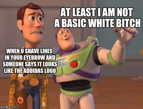 X, X Everywhere Meme | WHEN U SHAVE LINES IN YOUR EYEBROW AND SOMEONE SAYS IT LOOKS LIKE THE ADDIDAS LOGO AT LEAST I AM NOT A BASIC WHITE B**CH | image tagged in memes,x,x everywhere,x x everywhere | made w/ Imgflip meme maker