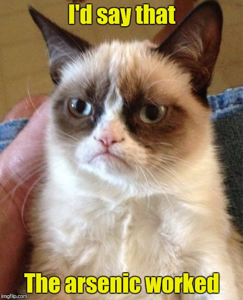 Grumpy Cat Meme | I'd say that The arsenic worked | image tagged in memes,grumpy cat | made w/ Imgflip meme maker