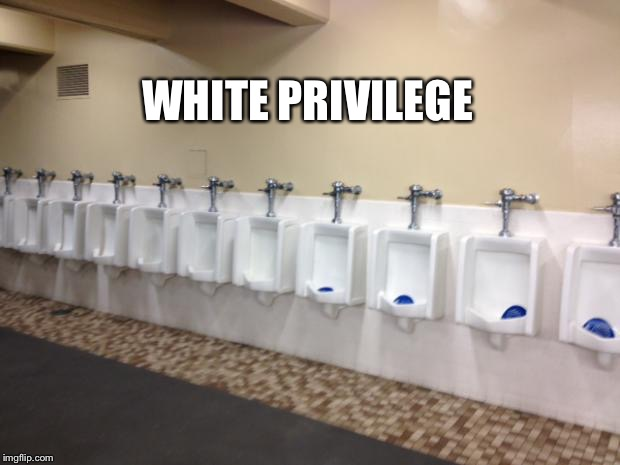 Row of urinals | WHITE PRIVILEGE | image tagged in row of urinals | made w/ Imgflip meme maker