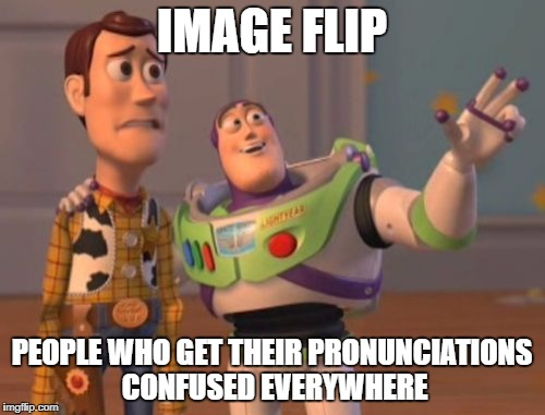 X, Y Everywhere | IMAGE FLIP PEOPLE WHO GET THEIR PRONUNCIATIONS CONFUSED EVERYWHERE | image tagged in memes,x x everywhere,dank memes,meanwhile on imgflip,funny,pronunciation | made w/ Imgflip meme maker