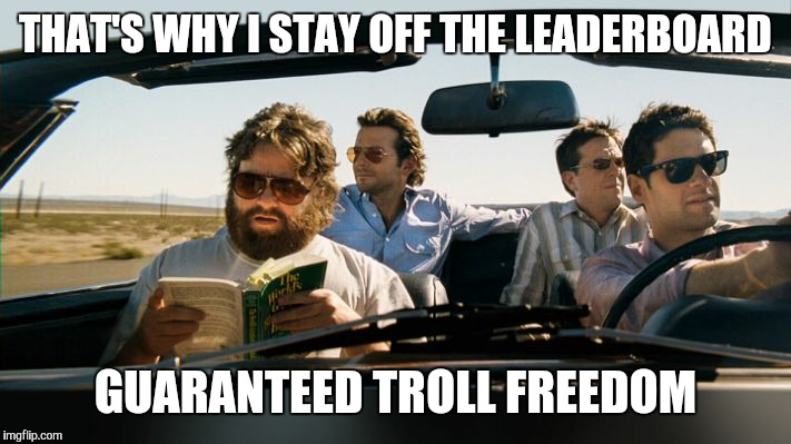 THAT'S WHY I STAY OFF THE LEADERBOARD GUARANTEED TROLL FREEDOM | made w/ Imgflip meme maker