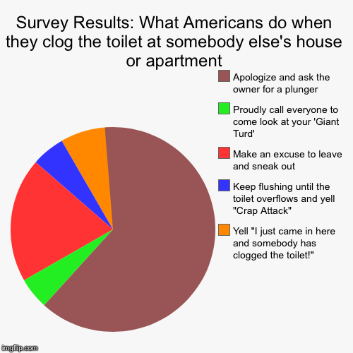 "Survey Results: What Americans do when they clog the toilet at somebody else's house or apartment | Yell ""I just came in here and somebody h 
