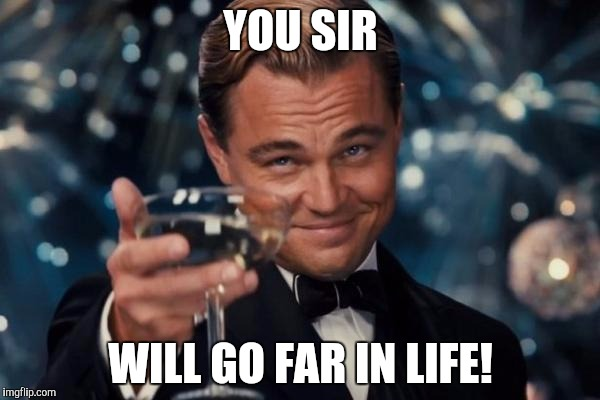 Leonardo Dicaprio Cheers Meme | YOU SIR WILL GO FAR IN LIFE! | image tagged in memes,leonardo dicaprio cheers | made w/ Imgflip meme maker
