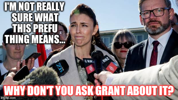 Ask me something about fish & chips |  I'M NOT REALLY SURE WHAT THIS PREFU THING MEANS... WHY DON'T YOU ASK GRANT ABOUT IT? | image tagged in labour,nz,jacinda ardern | made w/ Imgflip meme maker
