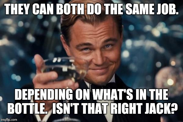 Leonardo Dicaprio Cheers Meme | THEY CAN BOTH DO THE SAME JOB. DEPENDING ON WHAT'S IN THE BOTTLE.  ISN'T THAT RIGHT JACK? | image tagged in memes,leonardo dicaprio cheers | made w/ Imgflip meme maker