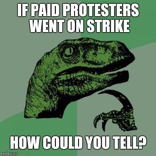 Philosoraptor Meme | IF PAID PROTESTERS WENT ON STRIKE HOW COULD YOU TELL? | image tagged in memes,philosoraptor | made w/ Imgflip meme maker