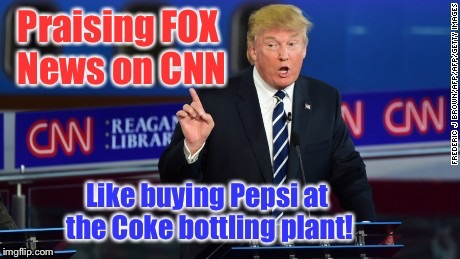 Great news slam! | . | image tagged in memes,cnn news,fox news,president trump,pepsi,coca cola | made w/ Imgflip meme maker