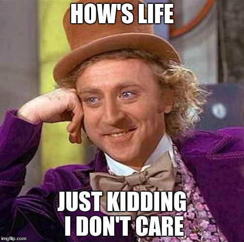 Creepy Condescending Wonka Meme | HOW'S LIFE JUST KIDDING I DON'T CARE | image tagged in memes,creepy condescending wonka | made w/ Imgflip meme maker