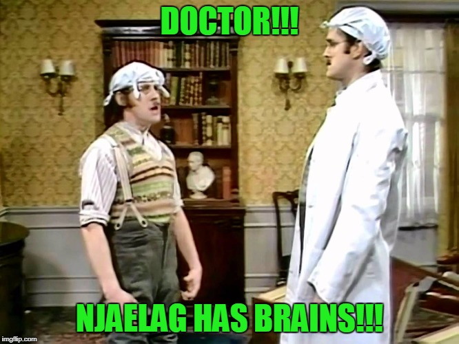 DOCTOR!!! NJAELAG HAS BRAINS!!! | made w/ Imgflip meme maker