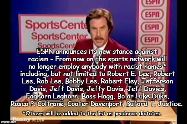 ESPN and the fight against racism | *Others will be added to the list as prudence dictates. ESPN announces its new stance against racism - From now on the sports network will n | image tagged in espn racism,bad words,not pc | made w/ Imgflip meme maker