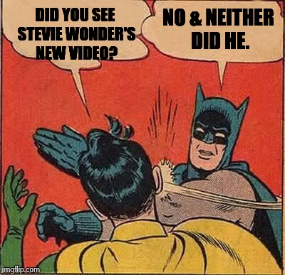 Batman Slapping Robin Meme | DID YOU SEE STEVIE WONDER'S NEW VIDEO? NO & NEITHER DID HE. | image tagged in memes,batman slapping robin | made w/ Imgflip meme maker