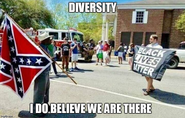 Diversity Saturation Point   | DIVERSITY I DO BELIEVE WE ARE THERE | image tagged in diversity saturation point,diversity,charlottesville,protest,meme,blm | made w/ Imgflip meme maker