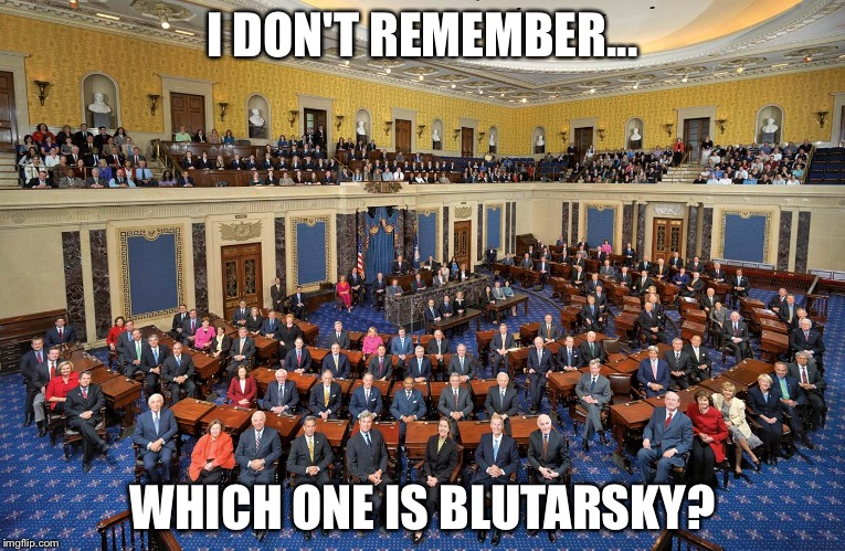 I DON'T REMEMBER... WHICH ONE IS BLUTARSKY? | image tagged in senate | made w/ Imgflip meme maker