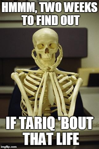 HMMM, TWO WEEKS TO FIND OUT; IF TARIQ 'BOUT THAT LIFE | image tagged in waiting skeleton | made w/ Imgflip meme maker