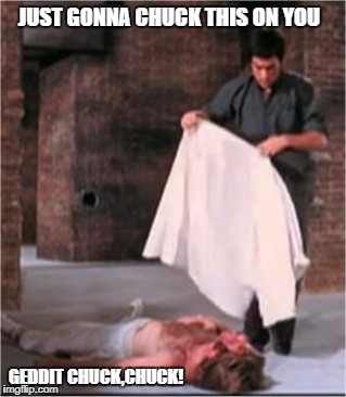 JUST GONNA CHUCK THIS ON YOU GEDDIT CHUCK,CHUCK! | image tagged in bruce lee blankets chuck norris | made w/ Imgflip meme maker