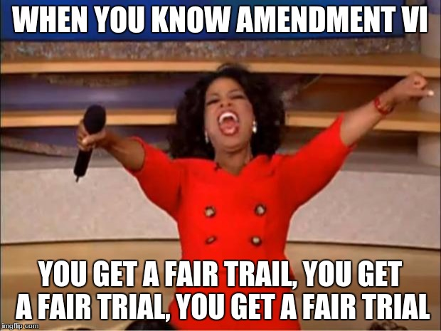 Oprah You Get A Meme | WHEN YOU KNOW AMENDMENT VI YOU GET A FAIR TRAIL, YOU GET A FAIR TRIAL, YOU GET A FAIR TRIAL | image tagged in memes,oprah you get a | made w/ Imgflip meme maker