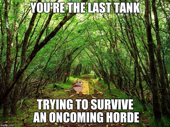 Spongegar Forest | YOU'RE THE LAST TANK TRYING TO SURVIVE AN ONCOMING HORDE | image tagged in spongegar forest | made w/ Imgflip meme maker