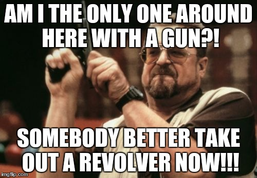 Am I The Only One Around Here Meme | AM I THE ONLY ONE AROUND HERE WITH A GUN?! SOMEBODY BETTER TAKE OUT A REVOLVER NOW!!! | image tagged in memes,am i the only one around here | made w/ Imgflip meme maker