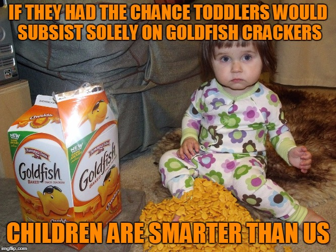 IF THEY HAD THE CHANCE TODDLERS WOULD SUBSIST SOLELY ON GOLDFISH CRACKERS CHILDREN ARE SMARTER THAN US | made w/ Imgflip meme maker