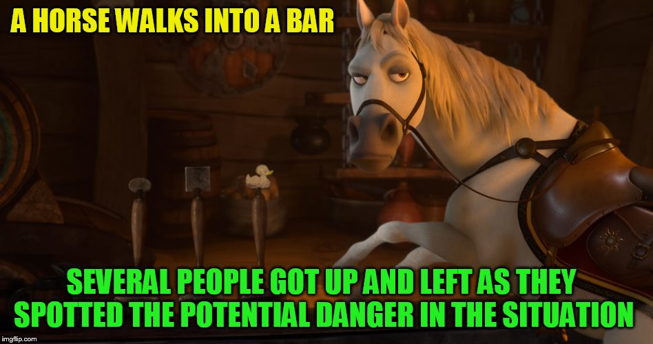 needameme https://imgflip.com/m/needameme | A HORSE WALKS INTO A BAR SEVERAL PEOPLE GOT UP AND LEFT AS THEY SPOTTED THE POTENTIAL DANGER IN THE SITUATION | image tagged in memes,needameme,anti joke,horse walks into a bar,jokes,anti joke chicken | made w/ Imgflip meme maker