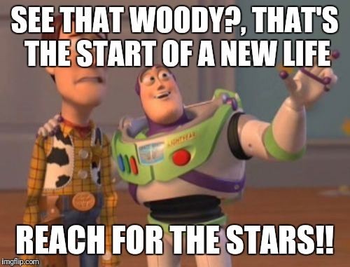X, X Everywhere Meme | SEE THAT WOODY?, THAT'S THE START OF A NEW LIFE REACH FOR THE STARS!! | image tagged in memes,x,x everywhere,x x everywhere | made w/ Imgflip meme maker