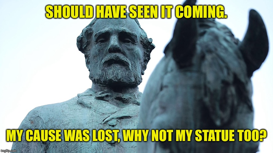 SHOULD HAVE SEEN IT COMING. MY CAUSE WAS LOST, WHY NOT MY STATUE TOO? | made w/ Imgflip meme maker