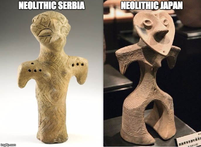 NEOLITHIC SERBIA                      NEOLITHIC JAPAN | image tagged in meme | made w/ Imgflip meme maker