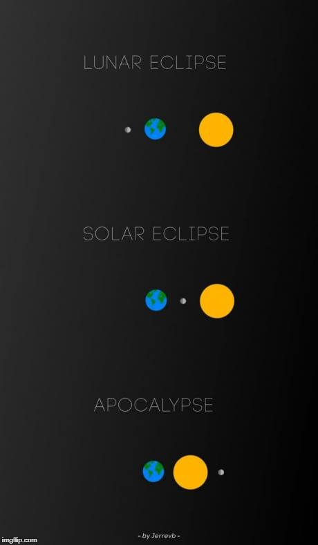 now you know the difference | image tagged in meme,lunar eclipse,solar eclipse,apocalypse | made w/ Imgflip meme maker