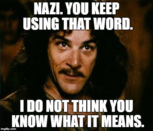 Nazi does not mean what you all think it means. | NAZI. YOU KEEP USING THAT WORD. I DO NOT THINK YOU KNOW WHAT IT MEANS. | image tagged in nazi,political meme | made w/ Imgflip meme maker