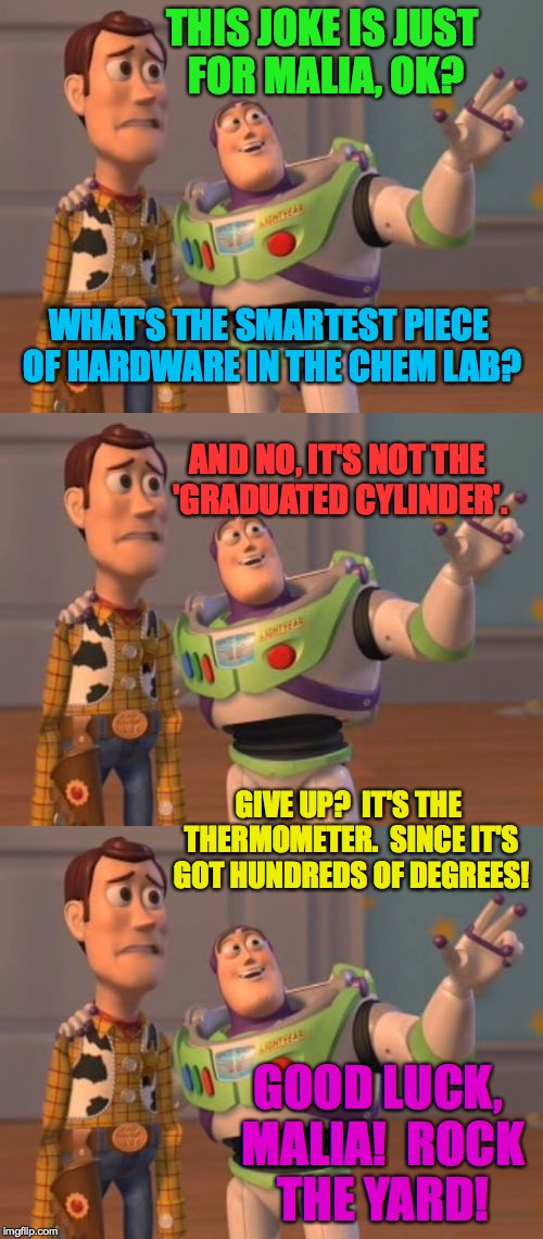 Good luck at Harvard, Malia Obama! | THIS JOKE IS JUST FOR MALIA, OK? GOOD LUCK, MALIA!  ROCK THE YARD! WHAT'S THE SMARTEST PIECE OF HARDWARE IN THE CHEM LAB? AND NO, IT'S NOT T | image tagged in memes,buzz driving woody,malia,harvard | made w/ Imgflip meme maker